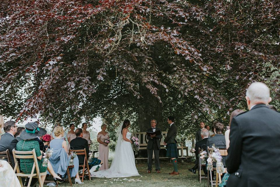 Wedding under the tree at Myres