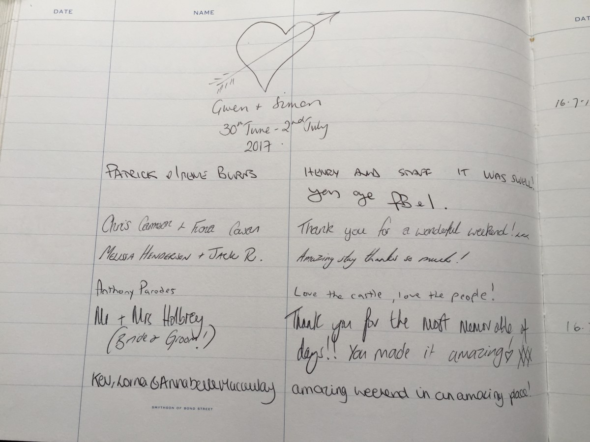 The Myres Castle guest book with some of the lovely comments we have received.